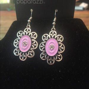 Purple flower earrings on a Fish Back Hook